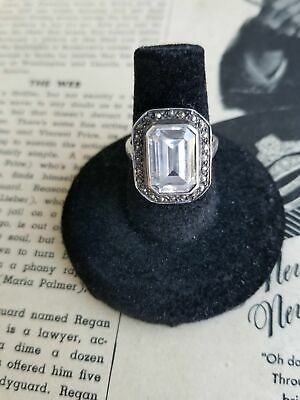 Large Art Deco Marcasite and Emerald cut Paste sterling silver ring size 6 and 1