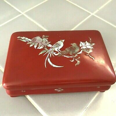 Lacquer Japanese Jewelry Footed  Box with Birds and Flowers MOP Abalone Inlay