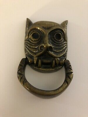 Vintage Door Knocker Japanese Demon Architectural Brass