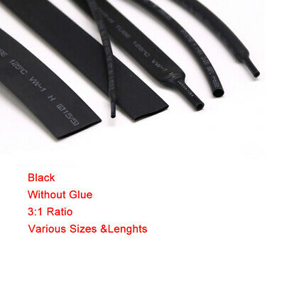 Black No Glue Heat Shrink 3:1 Tube Car Cable Wire Electrical Tubing Sizes&Lens