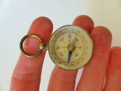 Genuine Antique Brass Compass, Pocket Compass, Sailing, Camping, Works Well