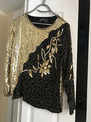 Vtg Jean For Joseph Le Bon Silk Beaded Sequin Blouse Top Gold Black S Excellent