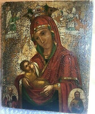 "Antique 19c Russian  Hand Painted Wood Icon ""Virgin of the Mammal"""