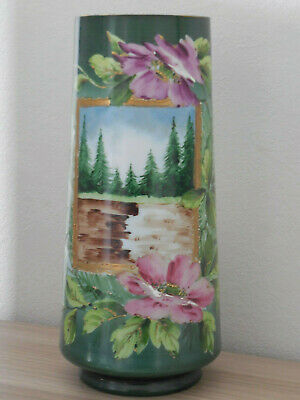 Very Nice Old  French Painted & Enamelled Handmade Glass Vase