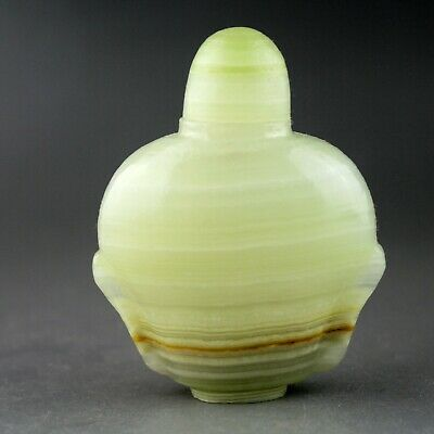 2.7'' China green jade Chinese hand-carved jade snuff bottle 0659