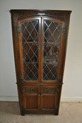 Old Charm Corner Unit  Leaded Glass Doors Display Cabinet