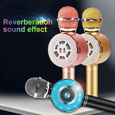 Wireless Bluetooth Karaoke Microphone With Light Handheld Rechargeable Speakers