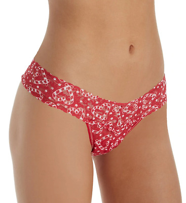 Hanky Panky Women's Signature Lace Candy Cane Heart Lowl Rise Thong One Size