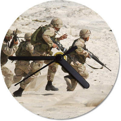 'Running Soldiers' Printed Wooden Wall Clock (CK028645)