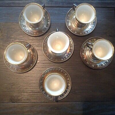 Sterling Silver Demitasse Cup And Saucer Set Of 9