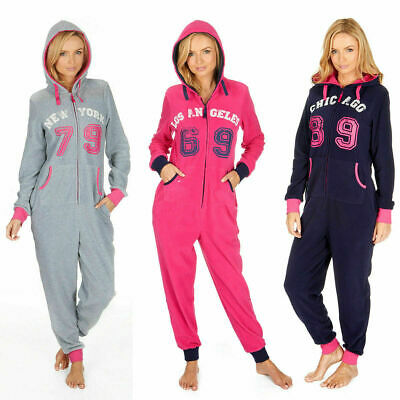1Onesie Ladies Womens All-In-One Jumpsuit Hooded Anti-Pill Pyjamas Micro Fleece