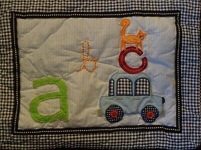 New Pottery Barn Navy Gingham Animal Alphabet Pillow Sham Cover
