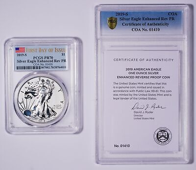 2019-S Silver Eagle Enhanced Reverse FIRST DAY OF ISSUE PF70 - PCGS Double Slab