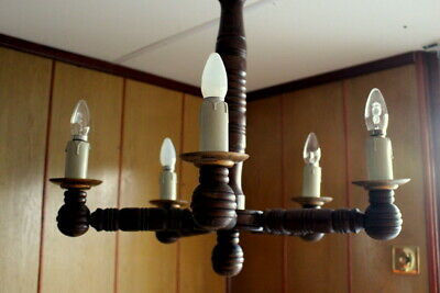 Large Antique French Rustic Carved Wood Oak Chandelier Ceiling Lamp Chateau