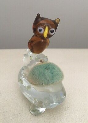 Vintage Art Glass Owl Pin Cushion