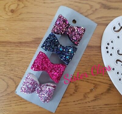 Girls Handmade 4 baby/toddler small winter pink mix Glitter Hair Bow clips