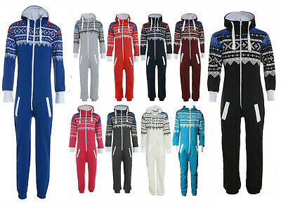 Kids Boys Girls Aztec Plain Hooded 1Onesie All In One Jumpsuit Sizes 7-13 Years
