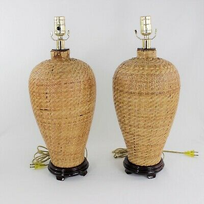 PAIR OF ASIAN Table Lamps, LAQUERED HAND WOVEN BAMBOO JAR  Chinoiserie Wicker