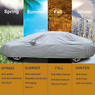 2 Layer 100% Waterproof XL Full Car Cover Breathable UV Protection Outdoor Grey