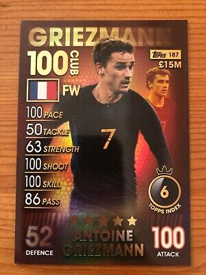 Match Attax 101 2019 Antoine Griezmann 100 Hundred Club No 187 Mint