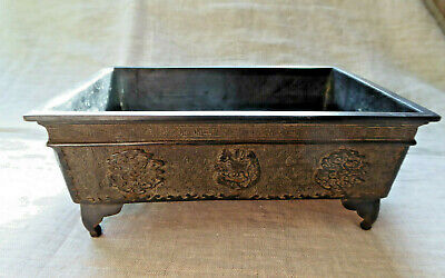 Antique Japanese Bronze Signed Bonsai Planter Footed Handles Basin Suiban