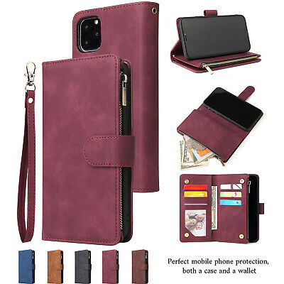 For iPhone11 Pro XR XS 7 8 Plus Magnetic Retro Leather Zipper Wallet Case Cover