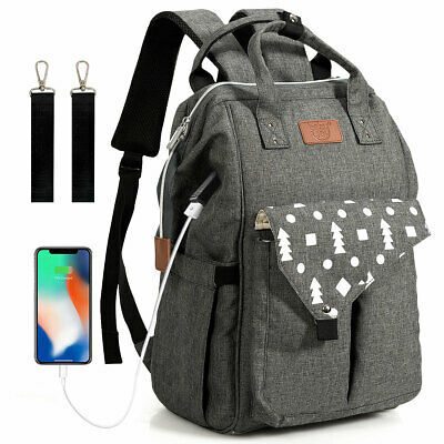 Diaper Bag Backpack Waterproof Large Baby Nappy Bag w/USB Charging Port Travel