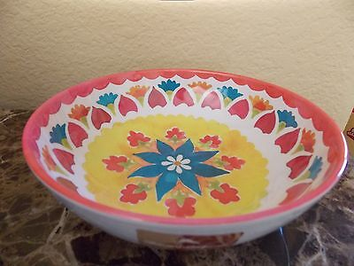 New Tommy Bahama Floral Red Turquoise Yellow Set Of 4 Melamine Cereal Bowls
