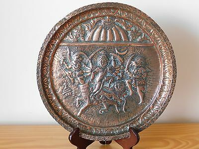 c.18th - Antique India Indian Solid Copper Hand Engraved Plate Dish