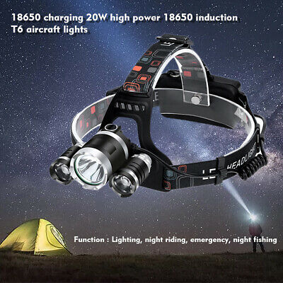 90000LM LED Headlamp Rechargeable Headlight CREE XM-L T6 3 Head Torch lamp camp