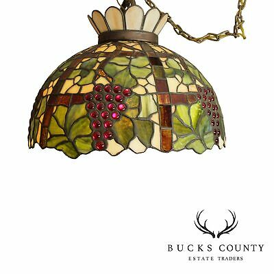 Tiffany Style Antique Stained Glass Fruit Pendant Light Chandelier