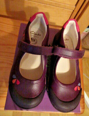 Clarks Infant Air Girls Shoes 8.1/2 Width Fit F Lilfolk Pip Pre Plum Leather 8.5