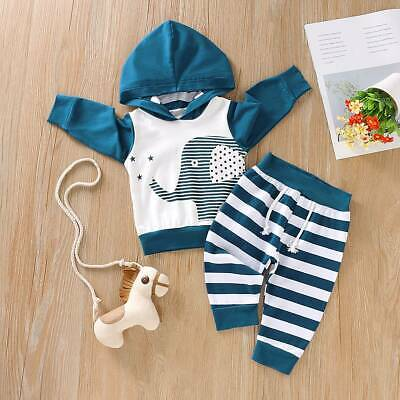 UK Toddler Newborn Baby Boy Girl Outfits Elephant Hooded Tops Pants Clothes Set