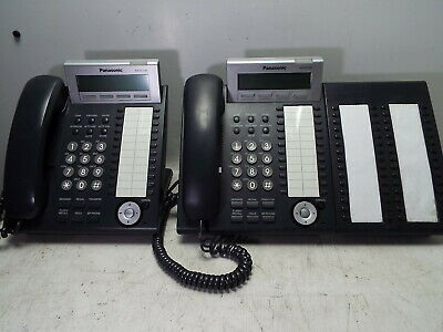 Lot of 2 Panasonic KX-DT343 KX-DT333 Telephone with KX-DT390-B 60 Button Console
