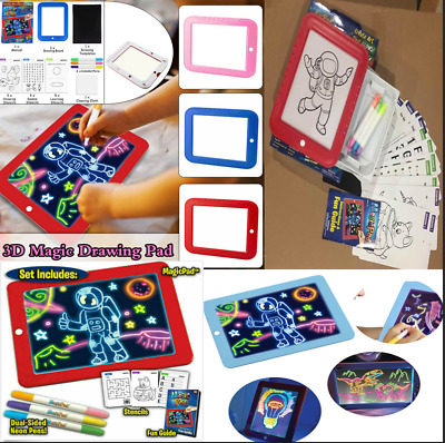 3D Magic Drawing Board Creative Children gift LED Lights Pen Glow Art Sketchpad