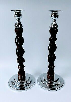 Antique Oak & Steel Barley Twist Candlesticks - Arts & Crafts Candlesticks