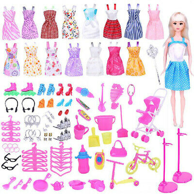114PCS Fashion Party Dresses Clothes Shoes Accessories For Barbie Doll Kids Gift