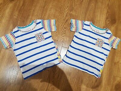 Twins Matching Little Bird By Jools Oliver Mothercare Rainbow Stripe Tshirts 2-3