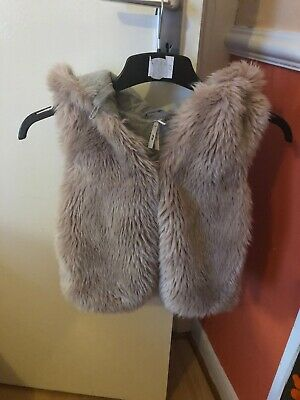 Next PINK SOFT LINED  Furry Gillet AGE  2-3 Years WITH Coat Hood VGC