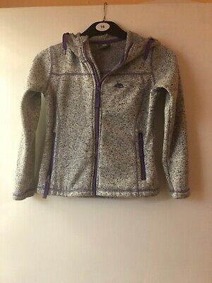 Girls Trespass KNITTED TEXTURE GREY AND LILAC HOODED Jacket Aged 5-6