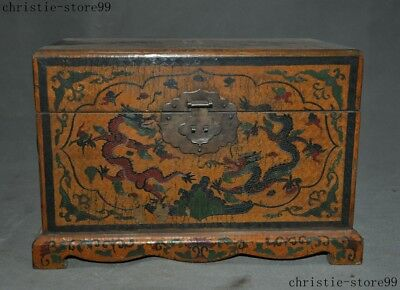 Old Chinese Lacquerware Wood Dragon Loong Pair Statue Storage Box Container Case