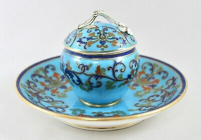 Antique 19Th Century Minton? Porcelain Inkwell And Cover
