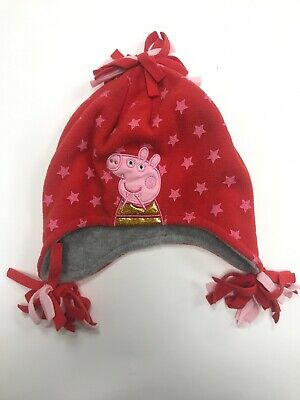 Girls Red Peppa Pig Stars Fleece Winter Beanie Hat With Ear Flaps (3-6 Years)