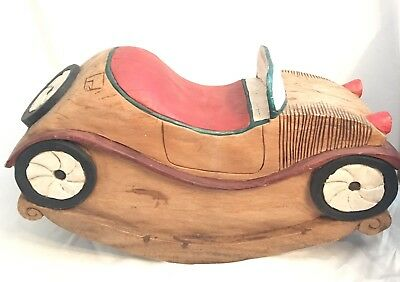 Antique Wooden Rocking Horse Child's Car Toy Hand Carved Folk Art Orig Paint
