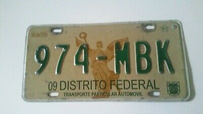 Plaque d'immatriculation federal district Mexico City 974MBK Mexican  License pl