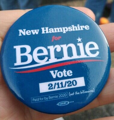 BERNIE SANDERS 2020Candidate NH for BernieVote2/11/2020 Official Campaign Button