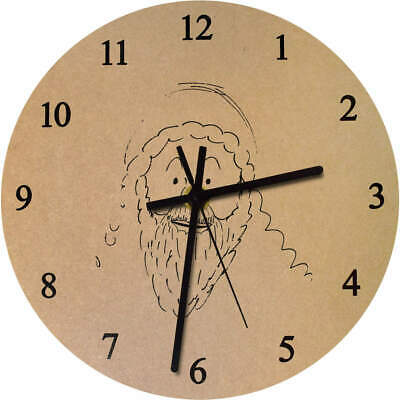 'Smiling Father Christmas' Printed Wooden Wall Clock (CK015652)