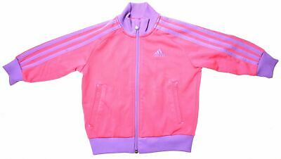 ADIDAS Girls Tracksuit Top Jacket 18-24 Months Pink Polyester  EZ12