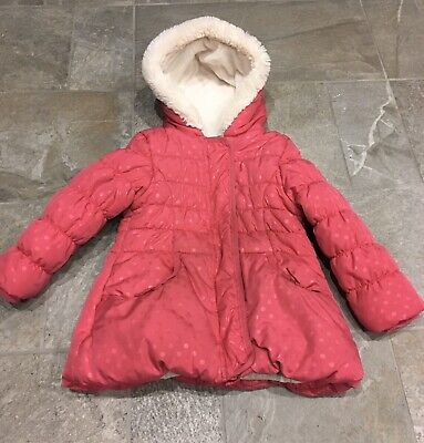 Girls Childs George Pink Warm Padded Quilted Zip Up Hooded Coat Age 3-4 Vgc