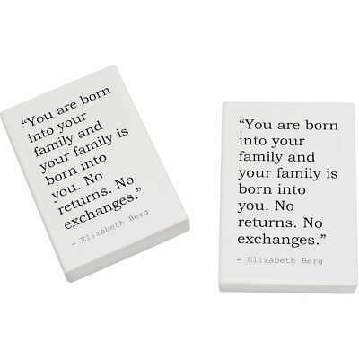 2 x 45mm Family Quote By Elizabeth Berg Erasers / Rubbers (ER00020282)